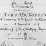 1937: Urkunde für sportliche Leistungen