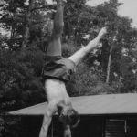 1953: Herbert Flemmig als 40-Jähriger mit Handstand am Barren