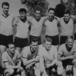 1963: Handballmannschaft - hinten v.l. Gerhard Herz, NN, Klaus Mecklenburg, Egbert Dolde, Wolfgang Zwick, Rüdiger Kolb, Gerold Kessel - vorn v.l. Reimund Furrer, Walter Krebs, Günter Reick, Paul Wurster, Hermann Böhmerle