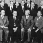 1974: Vorstand und Turnrat - stehend v.l. Herbert Leuthner, Emil Fischer, Fritz Rau, Armin Siegel, Wolfgang Fischer, Michael Janisch, Helmut Fischer, Otto Hirth, Kurt Reick - sitzend v.l. Gernod Schomberg, Willi Bott, Erwin Moser, Hubert Auer