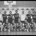 1999: Handballmannschaft - hinten v.l. Thorvaldur Gudjonsson, Tobias Kolb, Tuna Sinansin, Arno Maier, Ralf Pröger, Carsten Meißner, Trainer Willi Krämer - vorn v.l. Stefan Blumenrode, Thorsten Rakatt, Jürgen Hauser, Markus Gierz, Peter Rößler, Timur Asparuk, Marc Kolb